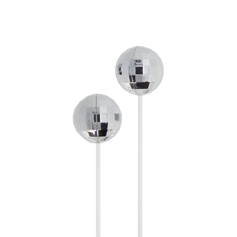 silver disco ball earbuds