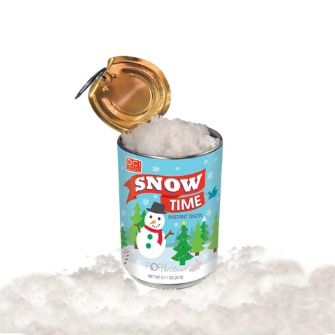 an opened can of show time instant snow