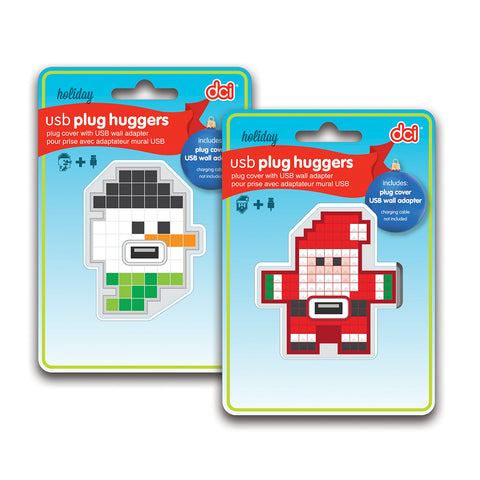 holiday snowman and santa usb plug huggers packaging