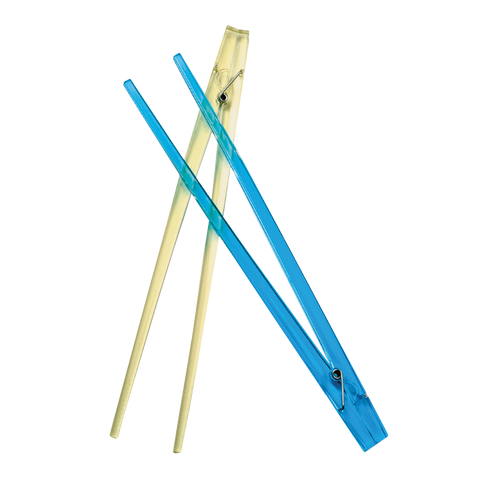 blue clothespin chopsticks and yellow clothespin chopstick