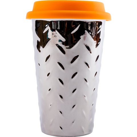 front view of ianapc diamond thermal ceramic mug with orange lid