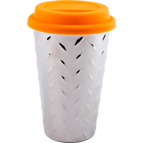 ianapc diamond thermal ceramic coffee mug with orange lid