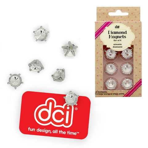 faux diamond magnets set in a packaging and six diamond magnets outside with text dci