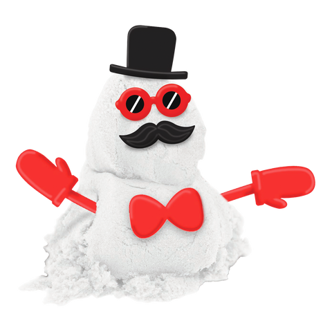 an image of a snowman sand with black hat, sunglass, red ribbon and red gloves