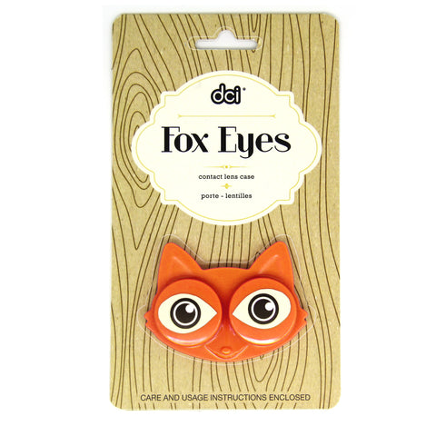 orange fox eyes contact lens case inside its dci packaging