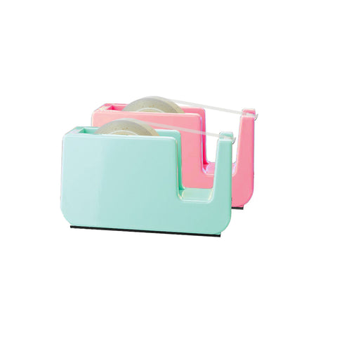 a pink sticky tape holder and cyan sticky tape holder