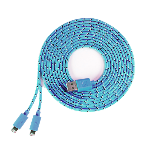 blue 2 in 1 iphone cable combo