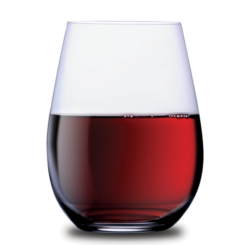 half filled xl stemless wine glass