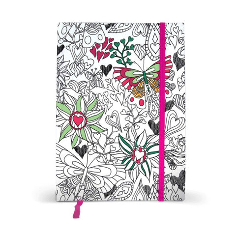 partially colored flowers journal