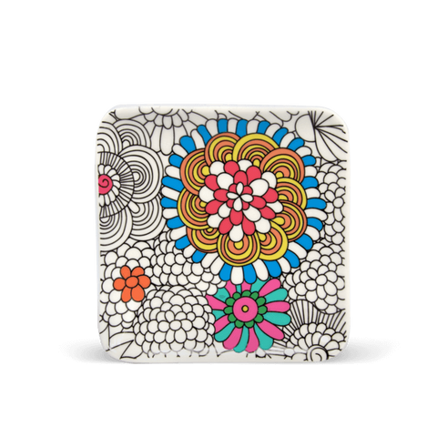 partially colored trinket tray from color joy in flowers design