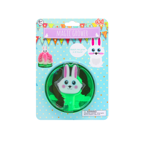 easter bunny magic grower pieces on circular container inside packaging