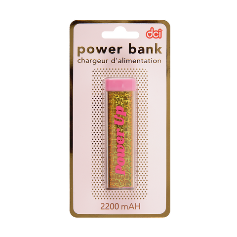 Power Up Glitter USB/Mini USB Power Bank