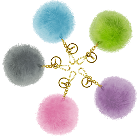 five pompom usb powerbank colored in pink, blue, grey, violet and green