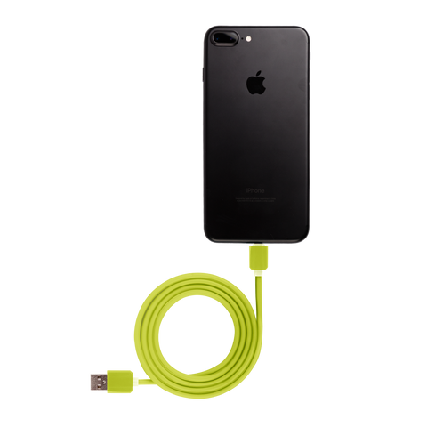 green iphone usb cable connected to black iphone