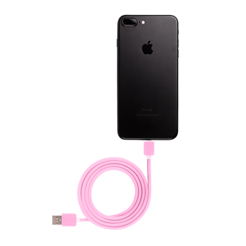 pink iphone usb cable connected to black iphone