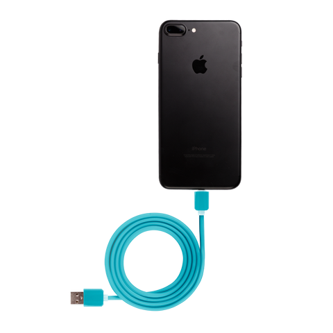 blue iphone usb cable connected to black iphone