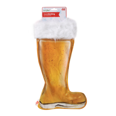 beer boot stocking with white fur upper lining