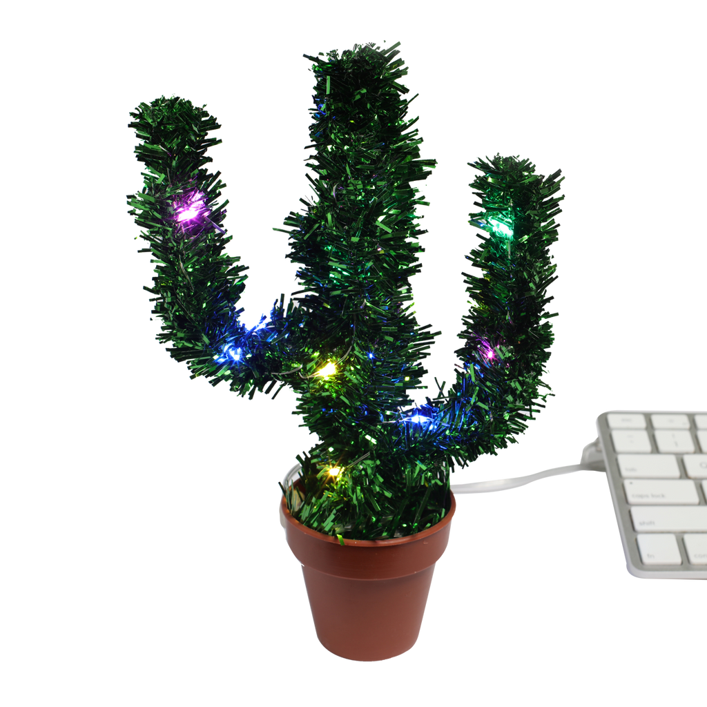 Christmas Cactus.Deck Your Desk Led Usb Merry Christmas Cactus