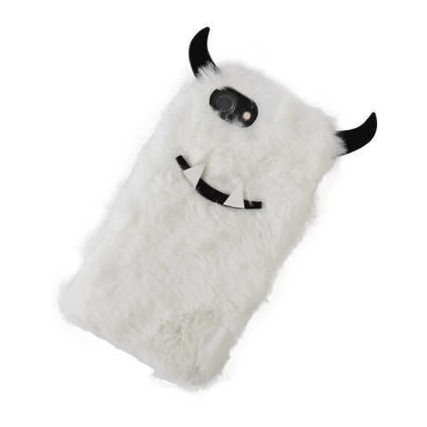 white furry yeti iphone case tilted to right