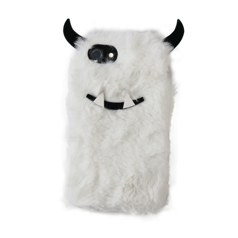 white furry yeti iphone case facing front