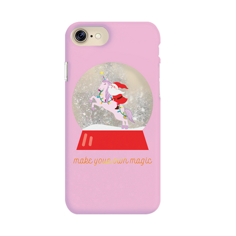 pink iphone case with santa riding on unicorn snow globe below is a text of make your own magic