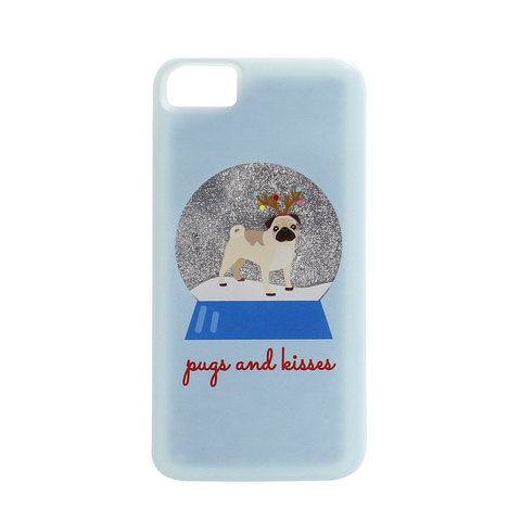 blue iphone case with pug snow globe below is text of pugs and kisses