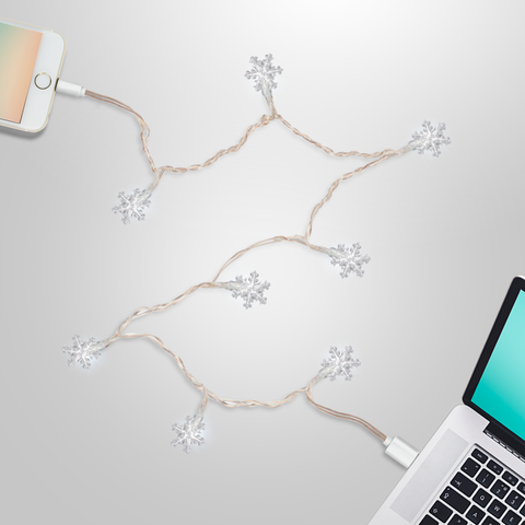 LED Charging Cable for iPhone 5,6,7,8: Snowflake