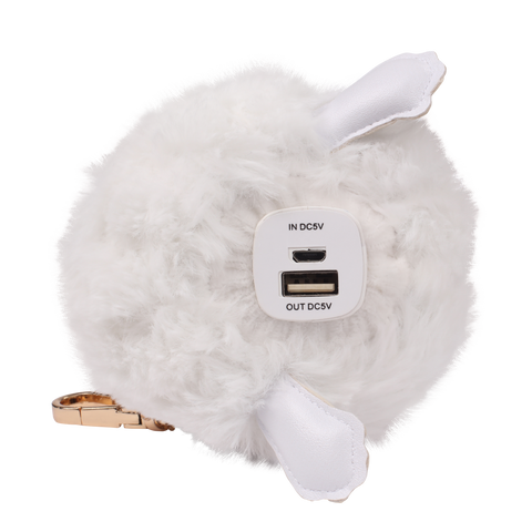 polar bear pompom power bank usb and micro usb ports