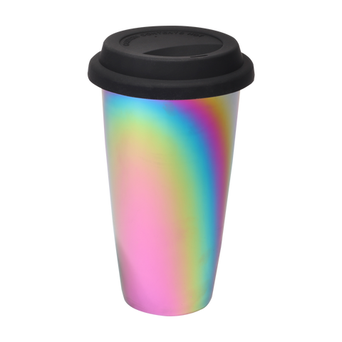 rainbow luster tumbler with black lid
