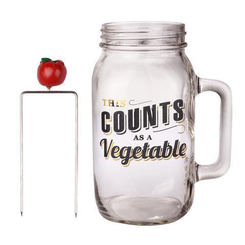 a tomato skewer together with a mason jar with text of this counts as a vegetable