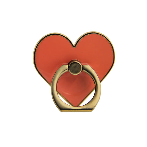heart shaped in a gold phone ring stand