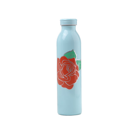 blue water bottle prinetd with red rose