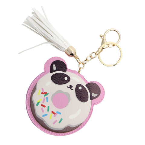 compact mirror with panda donut cover comes in a keychain with white tassel