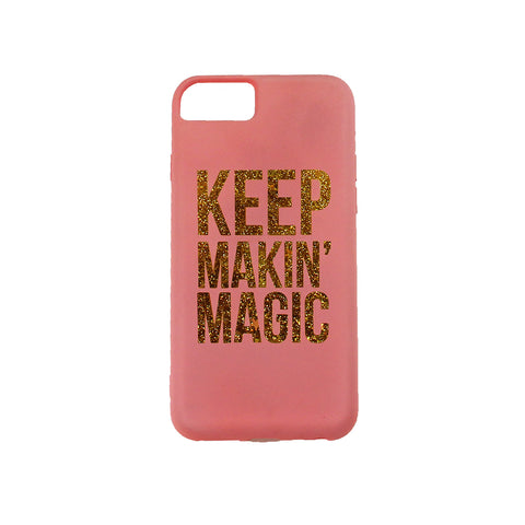 red iphone 6, iphone 7, iphone 8 case printed with text keep makin' magic colored in gold glitter