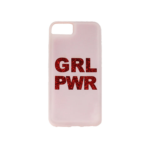 pink iphone 6, iphone 7, iphone 8 case printed with text grl pwr colored in red glitter