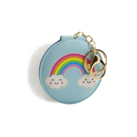 mini mirror with blue cover of rainbow comes in a keychain with white pom pom