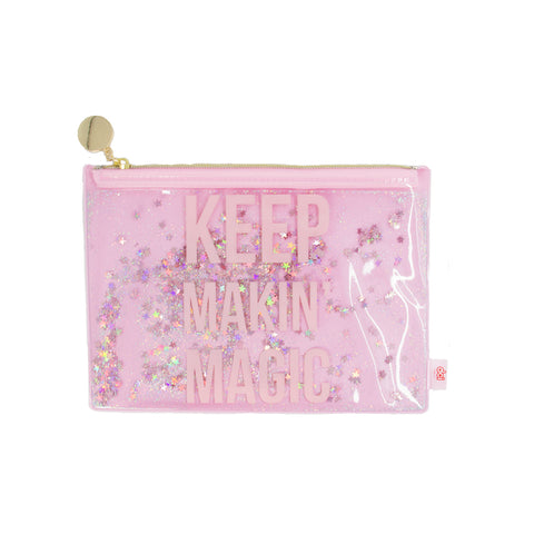 pink pouch with printed phrase keep makin' magic and floating star glitters