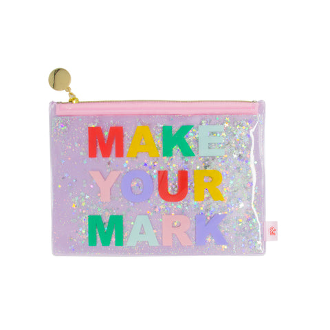 pink pouch with printed phrase make your mark and floating star glitters