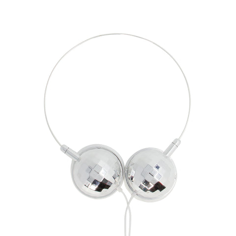 silver disco ball housing headphones