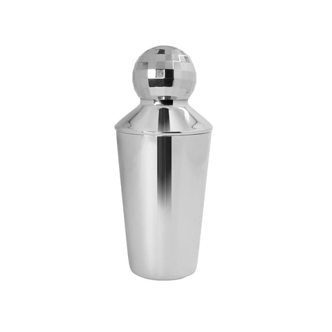 silver cocktail shaker with lid disco ball topper