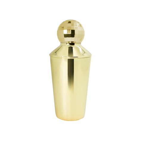 gold cocktail shaker with lid disco ball topper