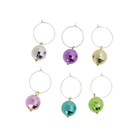 set of disco ball drink marker assorted in color silver, purple, gold, pink, blue and green