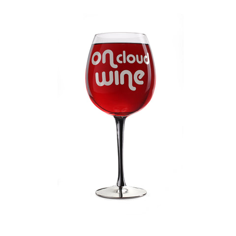 xl wine glass printed with text on cloud wine filled with red wine
