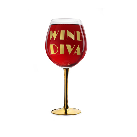 xl wine glass printed with text wine diva filled with red wine