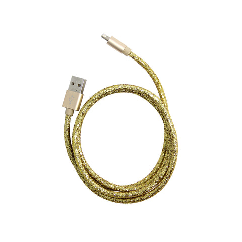 gold glitter usb charging cable for iphone