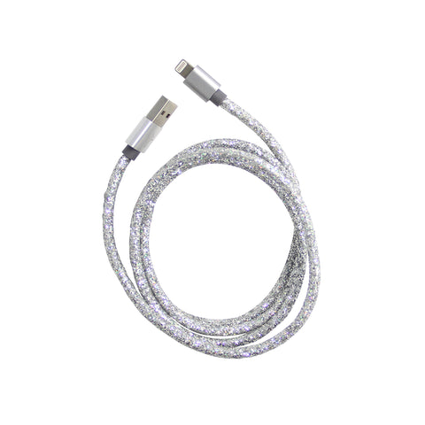 silver glitter usb charging cable for iphone
