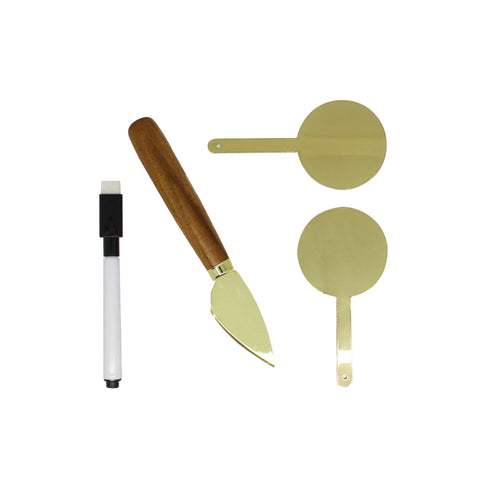 Cheese Marker & Knife Set: Gold