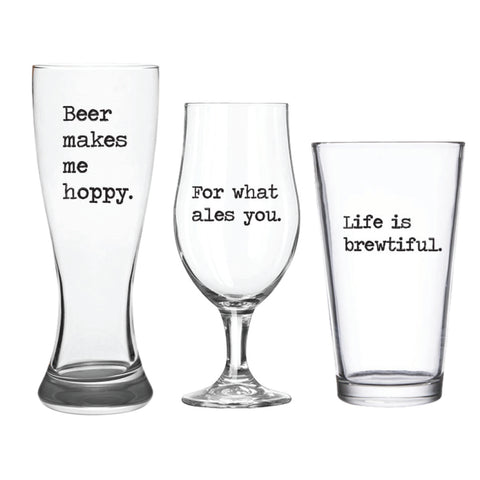 Makes Me Hoppy Beer Glass Set