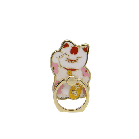Enamel Phone Ring: Lucky Cat