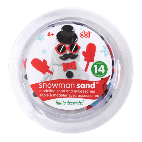 a circular contrainer of snowman sand kit